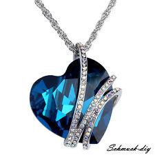 Damenmode Halskette Collier Herz Anhänger Kristall Strass Schmuck Geschenk Blau