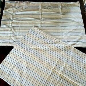 Pair of 2 Pillowcases ~ Standard Cotton ~Tan Blue White Striped