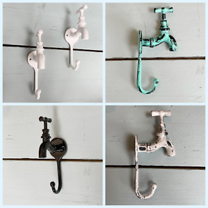 Exclusive Painted and Distressed Cast Iron Tap Coat Hooks BEST PRICE from £7.96