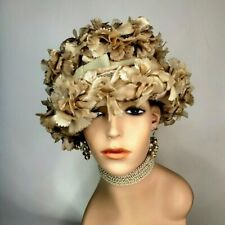Vintage Millinery Floral Cloche Bucket Hat 1960s Taupe Ladies Tea Party Derby