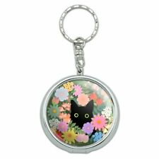 Black Cat Hiding in Spring Flowers Portable Travel Ashtray Keychain