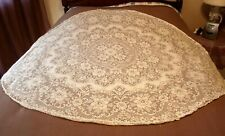 """Vintage Round Quaker Lace Tablecloth -  Ivory 65"""" with Picot Loops - Must See!"""