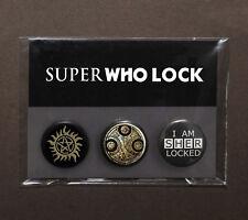 SuperWhoLock badges (1 pack of 3) – Supernatural – Doctor Who – Sherlock fandom
