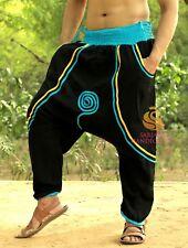 Men Mos Crepe Black Harem Yoga Pants Women Hippie Genie Trouser Drop Crotch Pant