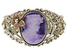 Lady Amber Crystal Rhinestone Vintage Inspired Brass Cuff Bangle Bracelet