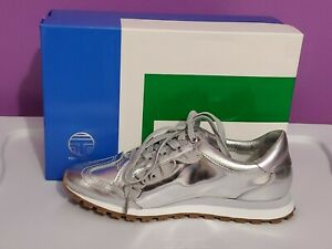 New Tory Burch Sport  Metallic Ruffled Trainer Sneaker silver sz 8M leather gray