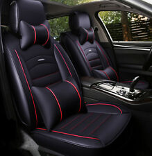 Full Set Car Seat Covers Universal 5-Seat PU Leather Front+Rear Cushion W/Pillow