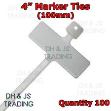 "100 x 4"" Cable Tie Marker I.D tie 100mm With Write On Tab Label Tag Wire Wiring"