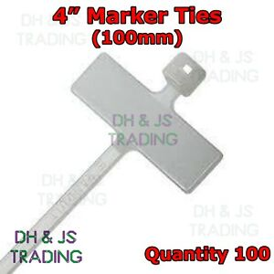 """100 x 4"""" Cable Tie Marker I.D tie 100mm With Write On Tab Label Tag Wire Wiring"""