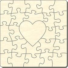 Blanko Holz-Puzzle Quadrat mit Herz, 25 Teile, 40x40 cm, zum Selbst Bemalen