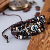 Bracelet Cuir Marron Porte Bonheur Avec Un Oeil Protecteur Pour homme Femme