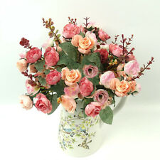 21 Head Artificial Fake Silk Rose Flower Bouquet Home Wedding Bridal Party @Deco