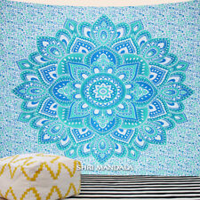 Blue Green Lotus Mandala Mandala Tapestry King Size Hippie Wall Hanging Throw