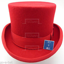 Wool Felt Topper Top Hat Tuxedo Victorian Men | 57cm | Red | VINTAGE x QUALITY