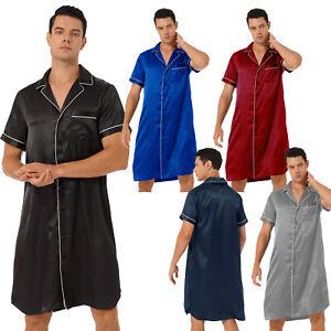Men Notched Collar Satin Nightshirt Short Sleeve Button Down Pajamas Shirt Dress