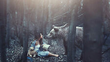 Framed Print - Massive Brown Bear and Woman in the Woods (Picture Poster Animal)