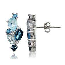 Sterling Silver London Blue, Blue Topaz, and White Topaz Cluster Tonal Earrings