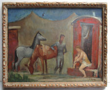 Karl Drerup '30s Rare Modernist Oil of Circus Listed German, NY, New Hampshire