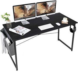 Home Office Desk, Writing Computer Desk Modern Black Working Desk PC AuAg 140cm