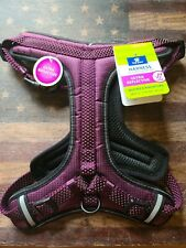 Top Paw Ultra Reflective Dog Harness Purple 2 D Rings Handle Soft Comfy Medium