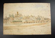 Dessin aquarelle vue de Nevers & cathédrale Saint-Cyr-Sainte-Julitte signé 1887