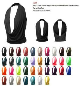 Sexy Drape Front Deep V-Neck Cowl Neckline Halter Backless Party Club Top
