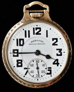 Hamilton Railway Special 992B 21 Jewel 10k Gold Filled Open Face Pocket Watch