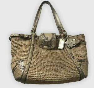 COACH Natalie Straw Reptile Leather Trim Flower Tote Bag Natural 16839 MSRP $398