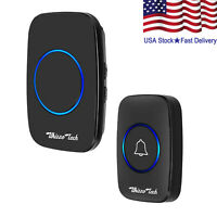 Wireless Doorbell Battery Operated Door Bell with 1Transmitter+1Plug in Receiver