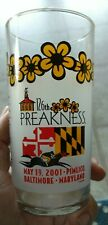 2001 Preakness Stakes 126th Pimlico Horse Race Souvenir Glass ~ Baltimore, MD