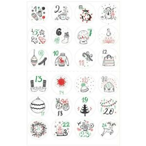 24Pcs Christmas Stickers Calendar Number Sticker DIY Gift Package Label Sticker