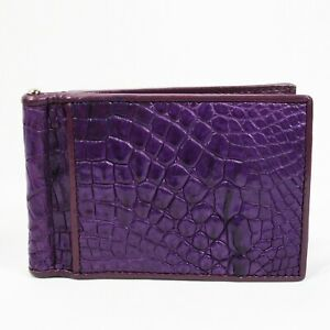 New Purple Mens Money Clip Walllet  Real Alligator Crocodile Leather Skin.