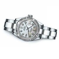 Men's Rolex 36mm Datejust White MOP Mother Of Pearl Baguette Diamond Dial RT