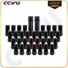 32 Pc 14X 1.5 Black Wheel Lug Nuts Fits Ford F-250 F-350 + 2 Keys 51 mm Length