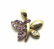 Sterling Silver Gold Tone Purple Amethyst Pave Wing CZ Accent Butterfly Pendant