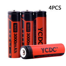 YCDC 3000mAh Battery 3.7V 18650 4Pcs Rechargeable  Li-ion