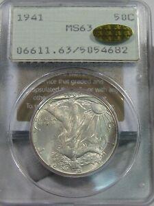 """BU 1941 Walking LIBERTY ½Dollar PCGSMS63 """"Rattler"""" Old Green Holder Gold CAC.#48"""