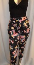 Ladies Slim Fit Leg New Look Black Floral Trousers Pants Summer Casual Style 6-8