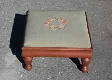 Vintage Floral Petit Point Needlepoint Solid Wood Footstool Ottoman Stool