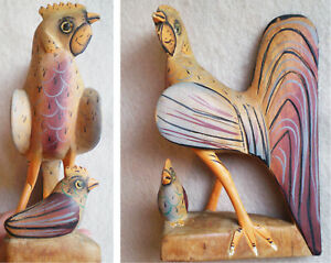 Vintage Hand Carved Painted WOOD FOLK ART Sculpture ROOSTER CHICKEN & Baby CHIC