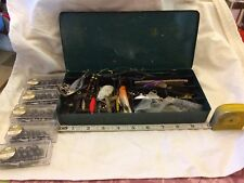 Metal Tackle Box Loaded With Used Fishing Lures And Split Shot Weights
