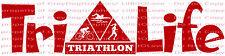 Tri Life Vinyl Decal Sticker Triathalon Sticker Swim Bike Run Swimming Biking