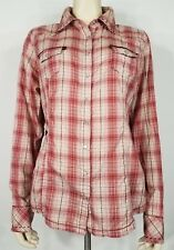 Guess Jeans red white plaid embroidered pearl snap shirt blouse ladies XL XLarge