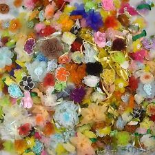 50 pcs Assorted Satin Organza Grosgrain Ribbon Flower Bows Craft Lot Appliques