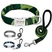 Soft Nylon Personalised Dog Collar and Lead Custom ID Metal Buckle & Name Phone