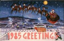 Santa Claus 1985 Greetings: Santa and Sleigh with Reindeer Hold to Light Vintage