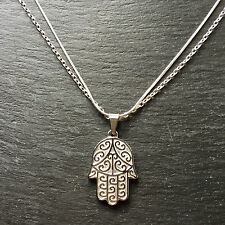 Stainless Steel Hamsa Pendant With Silver Plated Chain Necklace Good Quality
