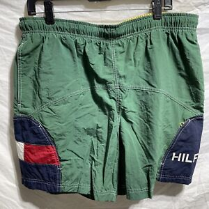 VTG 90s TOMMY HILFIGER SWIM TRUNKS BOARD SHORTS SZ L Spell out Logo Green
