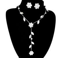 Women Crystal Flower Wedding Bridal Bride Crystal Necklace Earrings Jewelry Set