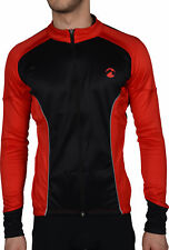 Piu Miglia Thermal Mens Cycling Jersey Black Full Zip Long Sleeve Cycle Top S M